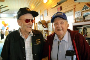 Air race legend Bill Brennand (left) and Paul Johns (right) elder statesmen of Wisconsin aviation