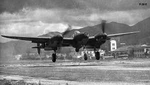 P-38E lands at Hamilton AAF, California USAAF photo