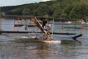 Dale Crites flying a Curtiss Pusher replica at Hammondsport, NY