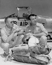Tony LeVier (left) and Fish Salmon with F-104 in background