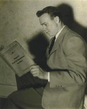 Bob studying Civil Aviation Regulations for his written exam 1938