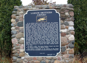 Historical marker at Larson Brothers Airport